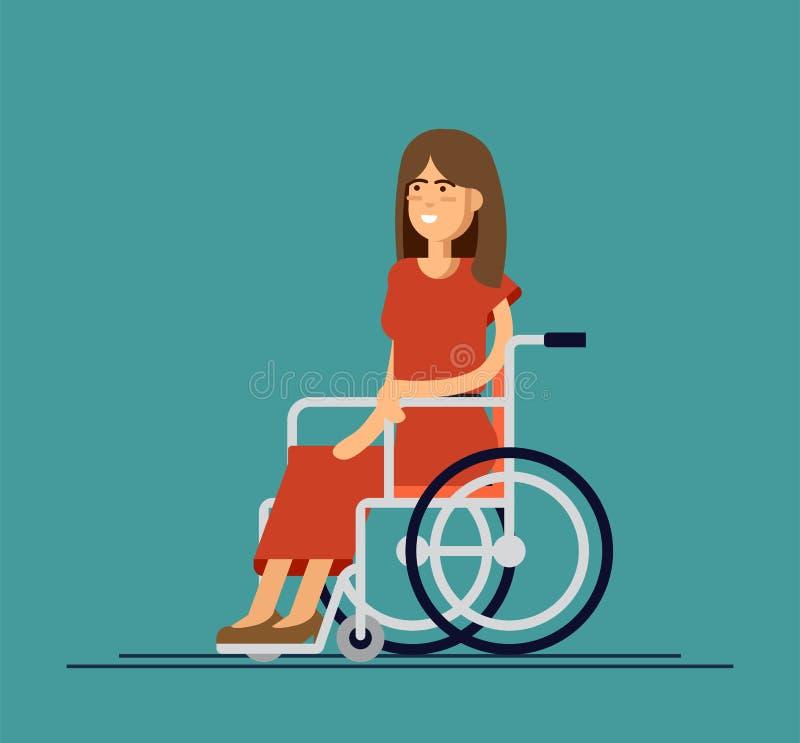 Молодая красивая женщина сидя в кресло-коляске, иллюстрации вектора шаржа плоской Счастливая женщина сидя в кресло-коляске, живя иллюстрация штока