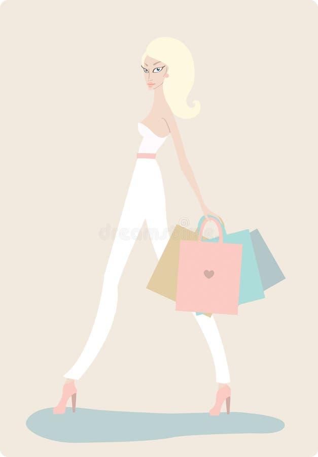 Молодая красивая женщина с хозяйственными сумками на светлой предпосылке иллюстрация вектора
