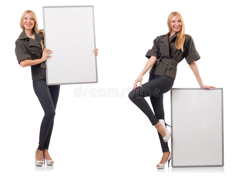 Молодая красивая женщина с whiteboard изолированная на белизне стоковое фото