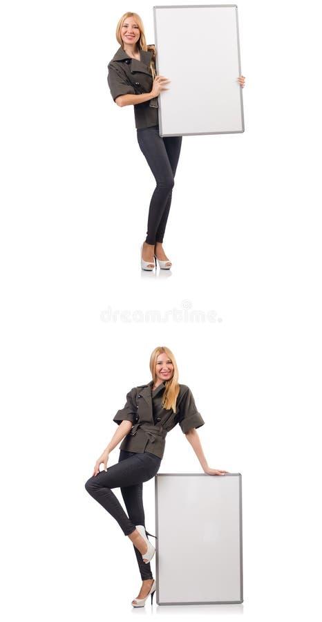 Молодая красивая женщина с whiteboard изолированная на белизне стоковая фотография