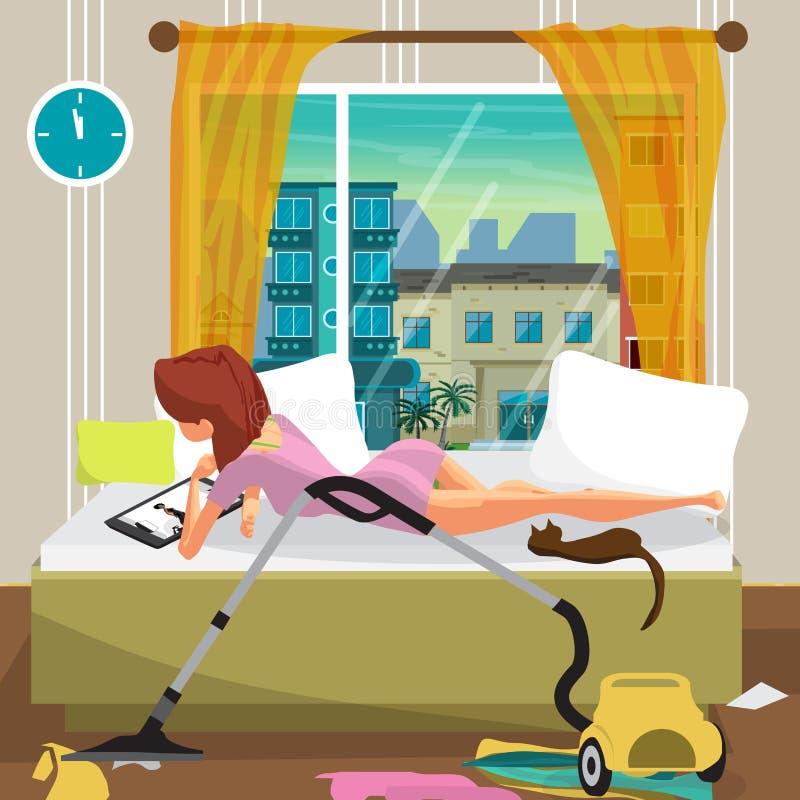 Молодая ленивая женщина лежит на кровати и смотрит кино на t иллюстрация штока