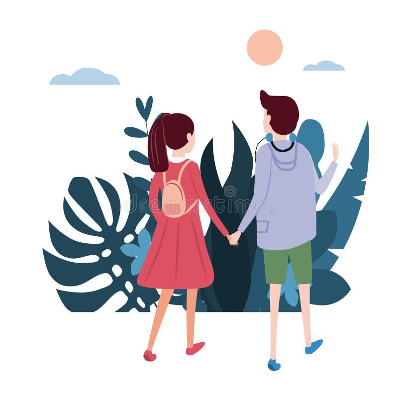 Молодая любящая пара идет держать руки, на их деле Флора предпосылки цветет флористические листья Квартира дизайна тенденции бесплатная иллюстрация