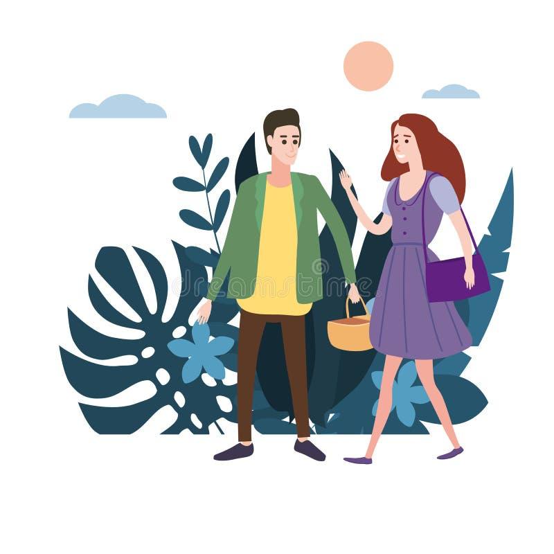 Молодая любящая пара идет держать руки, на их деле Флора предпосылки цветет флористические листья Квартира дизайна тенденции иллюстрация штока