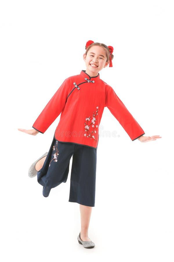 Китайская девушка на белой предпосылке стоковое изображение rf