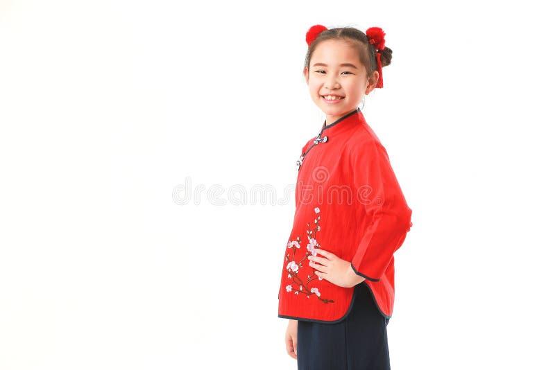 Китайская девушка на белой предпосылке стоковое изображение