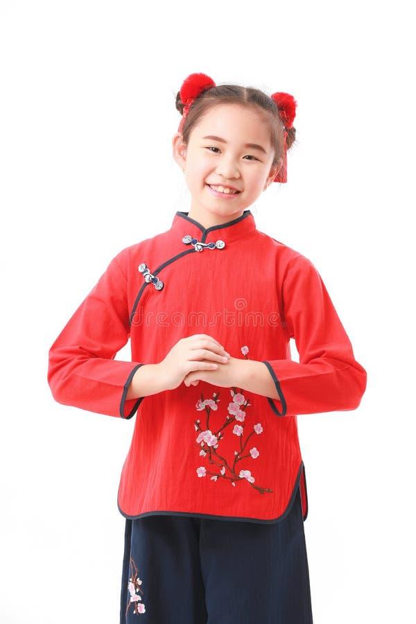 Китайская девушка на белой предпосылке стоковая фотография rf