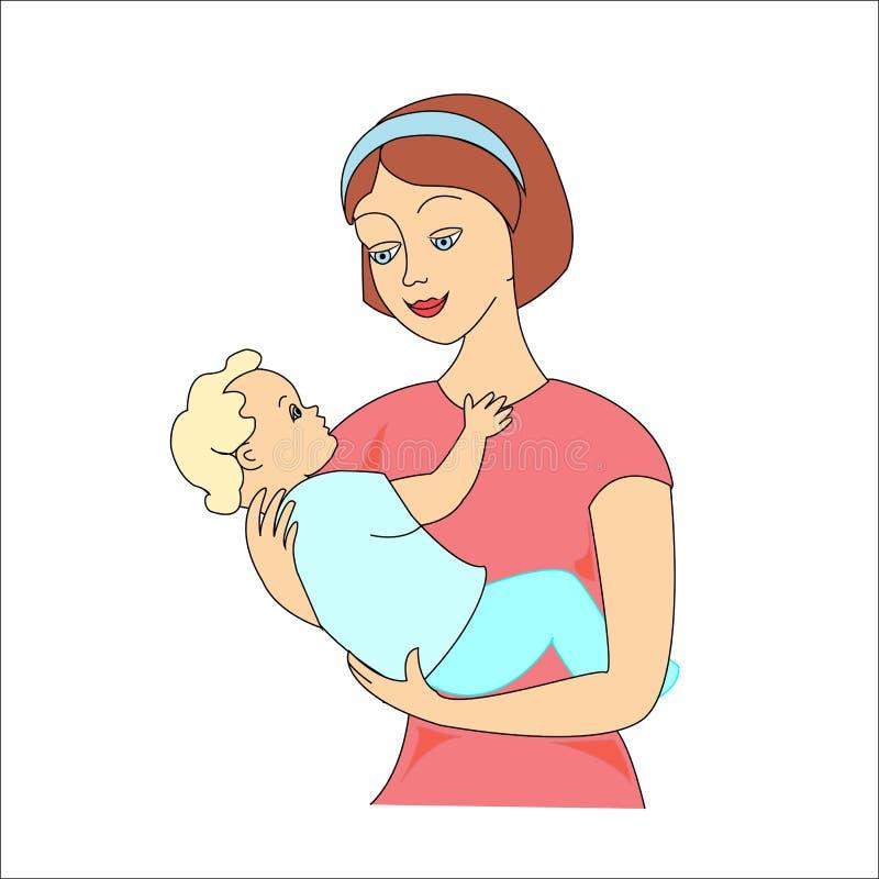 Молодая мать обнимая ее младенца с осторожностью и любов Мать и солнце r иллюстрация вектора
