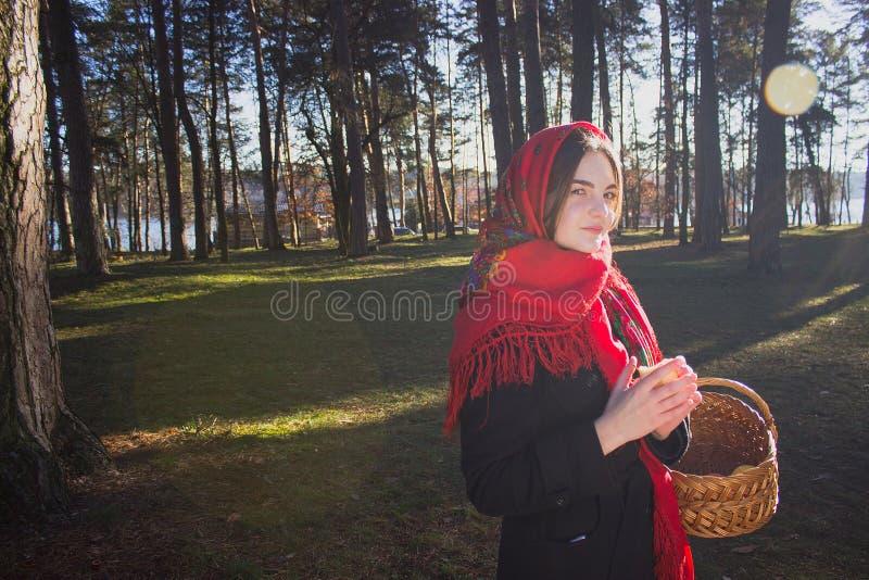 Молодая милая девушка с красным шарфом на ее голове стоковые фотографии rf