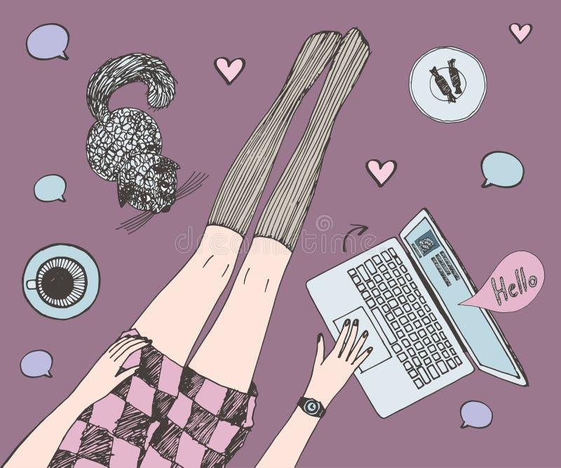 Молодая милая женщина с котом беседовать онлайн Длинные красивые ноги в чулках и краткость одевают Покрашенная нарисованная рука иллюстрация вектора