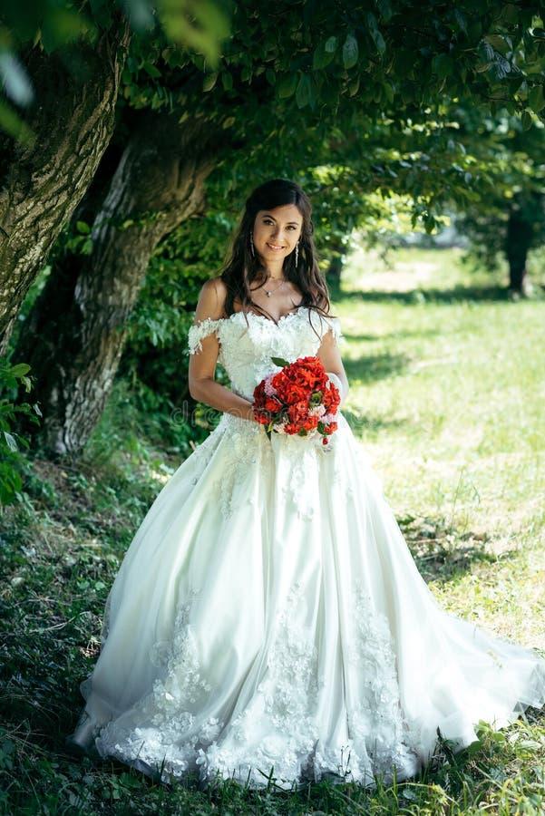 Молодая невеста брюнет с красивой улыбкой держит красный букет свадьбы Положение парка Вертикальная без сокращений съемка стоковые изображения
