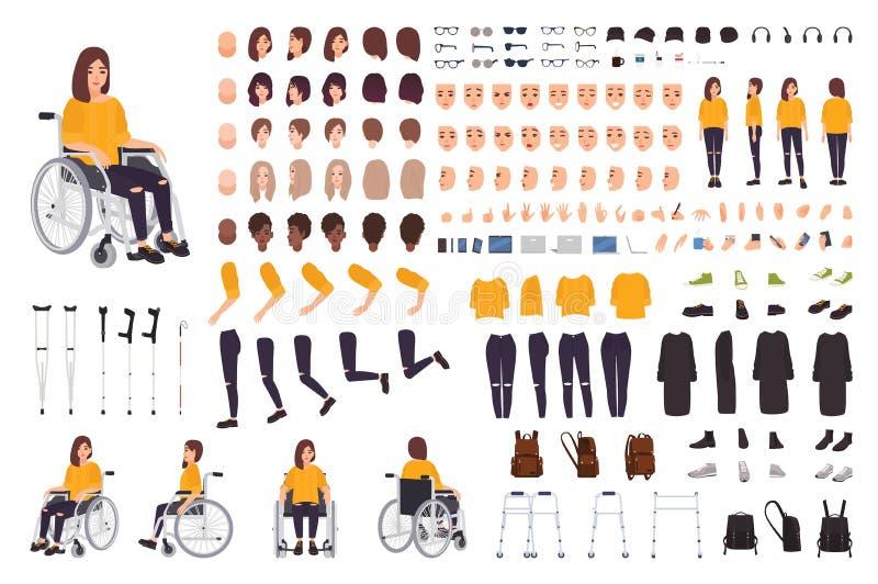 Молодая неработающая женщина в конструкторе кресло-коляскы или наборе DIY Комплект частей тела, выражений лица, костылей, идя иллюстрация штока
