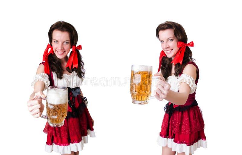 Молодая официантка с подносом на белизне стоковые фотографии rf