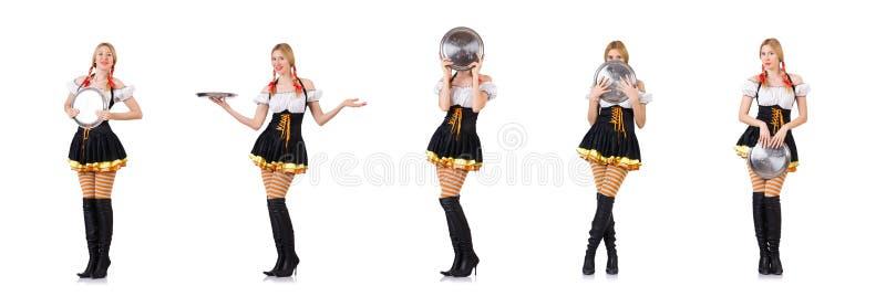 Молодая официантка с подносом на белизне стоковые изображения rf