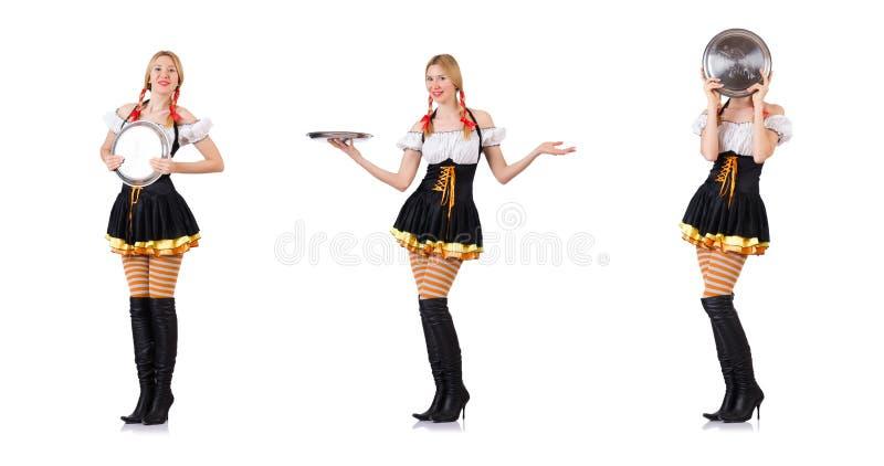 Молодая официантка с подносом на белизне стоковое фото