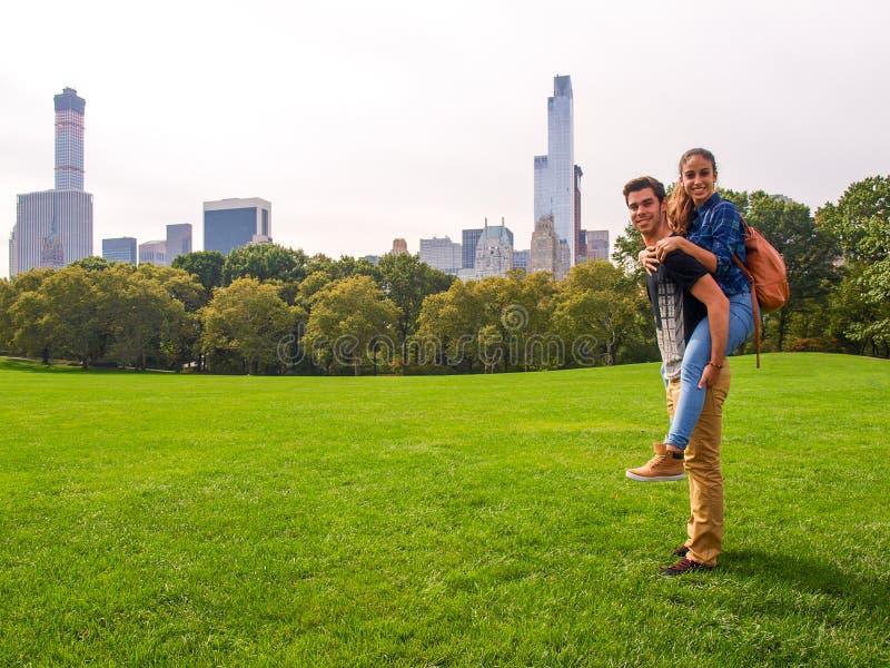 Молодая пара представляя на луге овец в Central Park, NY, Нью-Йорке стоковые фото