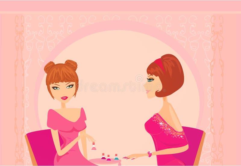 Молодая повелительница делая manicure иллюстрация штока