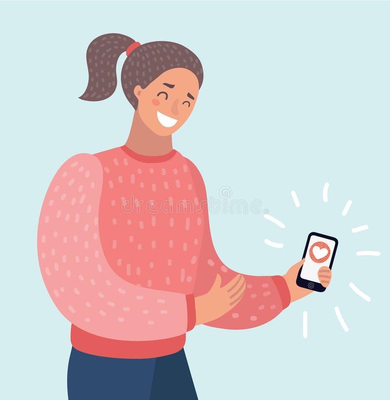 Молодая потревоженная женщина держа мобильный телефон получила сообщение c иллюстрация вектора
