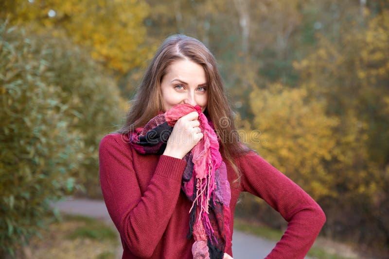 Молодая привлекательная рыжеволосая девушка идя в flirtati парка осени стоковая фотография