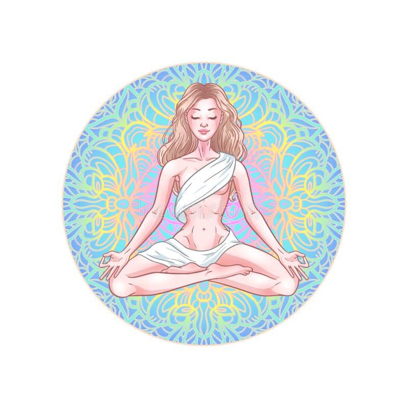Молодая размышляя женщина yogi в представлении лотоса на предпосылку мандалы r иллюстрация штока