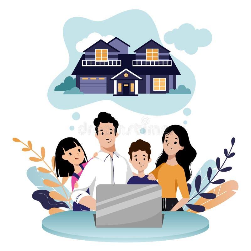 Молодая семья с 2 детьми ища новый дом для покупки или для того чтобы арендовать Заем недвижимости, ипотека, иллюстрация мультфил иллюстрация вектора