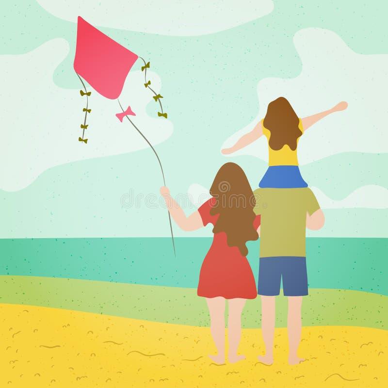 Молодая семья с ребенком наблюдая море на пляже со змеем в их руках Концепция каникул праздника сезона лета иллюстрация вектора