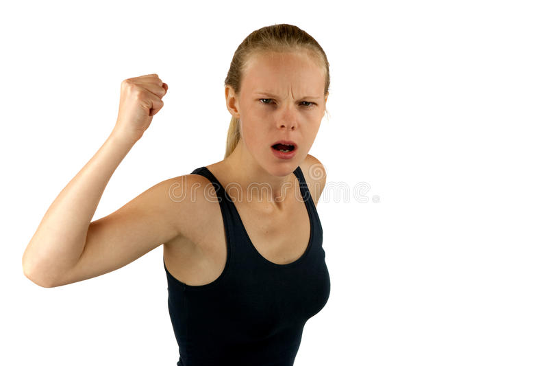 Молодая сердитая женщина стоковые фото