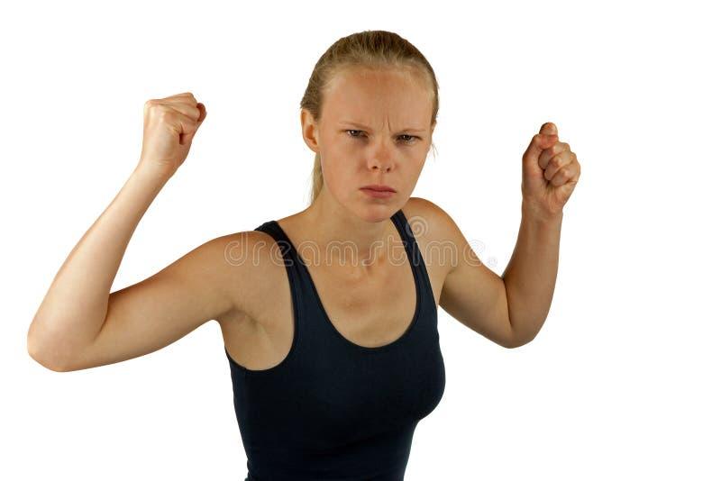 Молодая сердитая женщина стоковые изображения rf