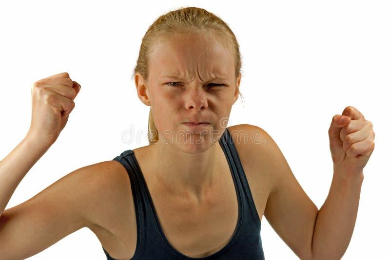 Молодая сердитая женщина стоковая фотография rf