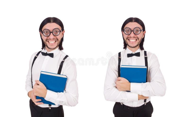 Молодая смешная книга woth человека изолированная на белизне стоковое изображение rf
