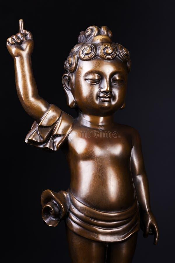 Молодая статуя бронзы принца Siddhartha Gautama стоковая фотография rf