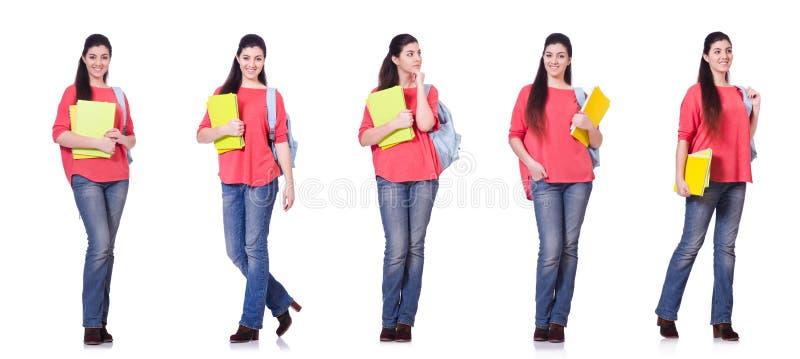 Молодая студентка изолированная на белизне стоковое изображение rf