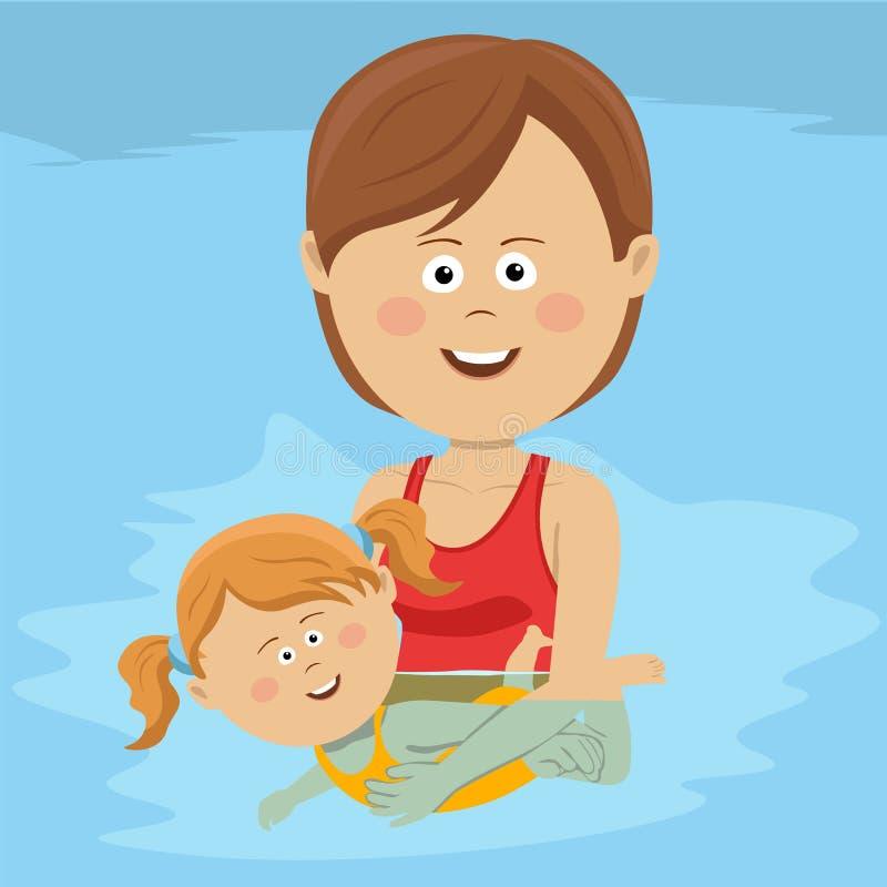 Молодая счастливая мама учит, что ее дочь плавает в бассейне иллюстрация штока