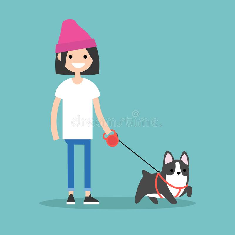 Молодая усмехаясь девушка идя собака/плоско illust бесплатная иллюстрация