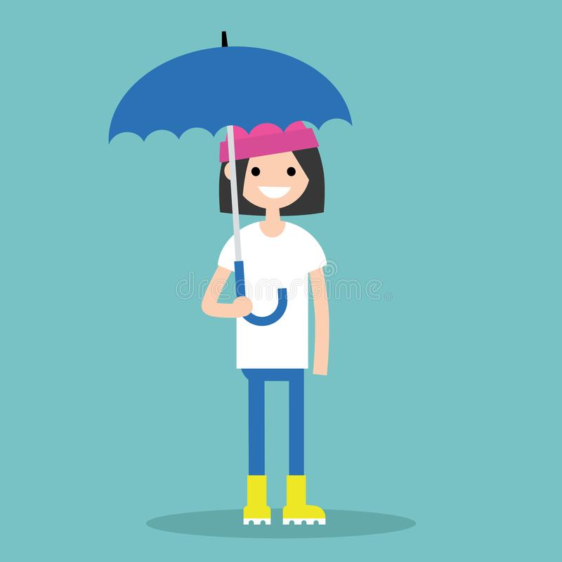 Молодая усмехаясь девушка при зонтик нося желтые резиновые ботинки/f иллюстрация вектора