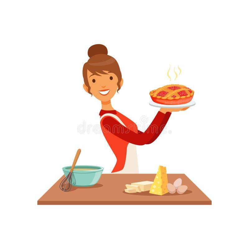 Молодая усмехаясь женщина держа свеже испеченный пирог, девушку домохозяйки варя еду в иллюстрации вектора кухни плоско