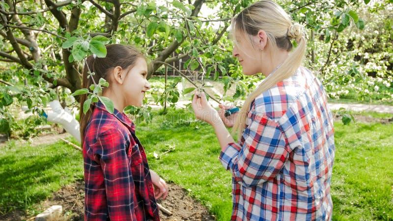 Молодая усмехаясь женщина показывая ее дочери как позаботиться о деревья в саде стоковые фотографии rf