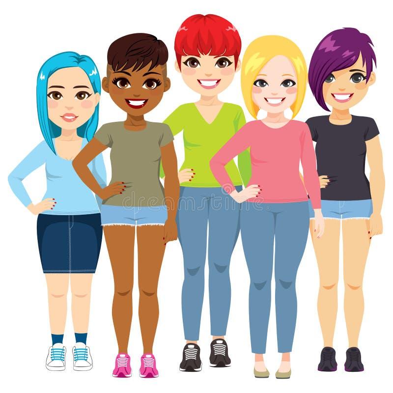 Молодая феминист группа женщин иллюстрация штока
