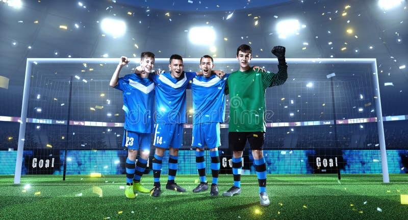 Молодая футбольная команда перед целью на профессиональном футболе 3D стоковые фотографии rf