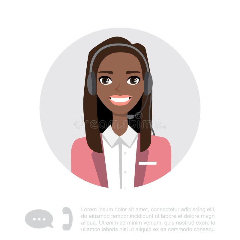 Молодая черная Афро-американская дама С Шлемофон Вектор Характер бесплатная иллюстрация
