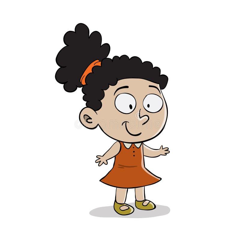 Молодая черная девушка с вьющиеся волосы иллюстрация штока