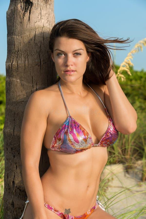 Молодая чувственная женщина в пляже стоковое изображение rf