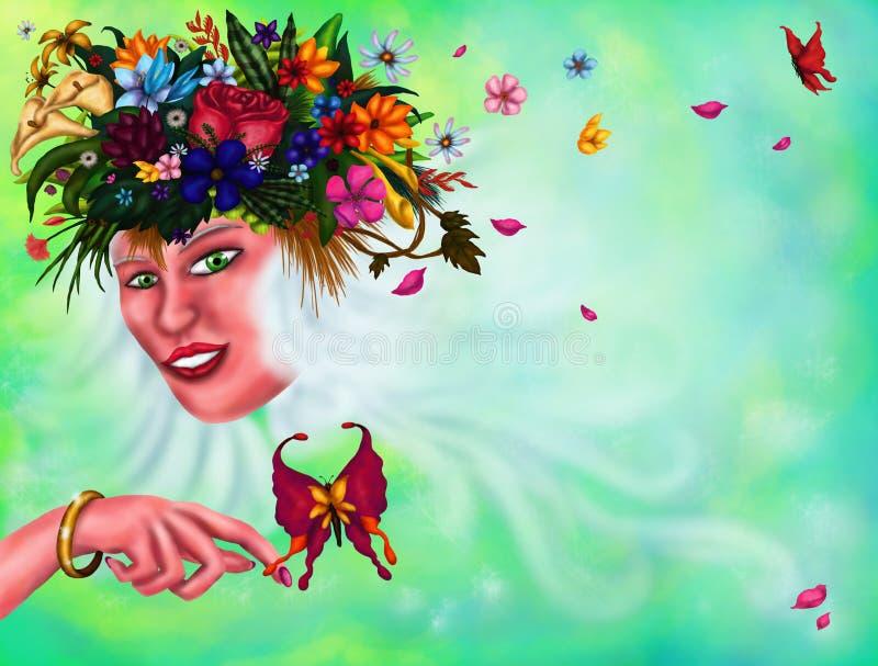 Молодая энигматичная женщина с пуком цветков и заводов в ее длинной женщине белых волос волшебной, 2018 иллюстрация вектора
