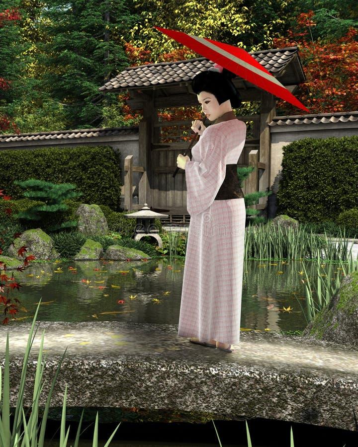 Молодая японская женщина в розовом кимоно при парасоль стоя в саде бесплатная иллюстрация