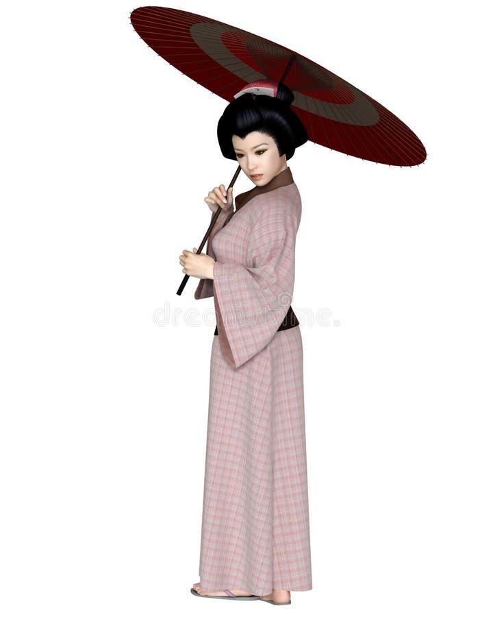 Молодая японская женщина в розовом кимоно с парасолем иллюстрация вектора