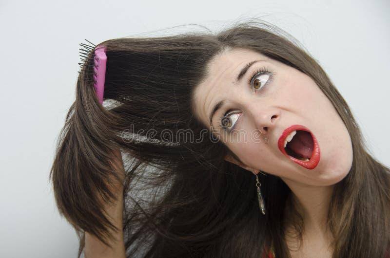 Молодое брюнет streesed для тщеты стоковое фото rf