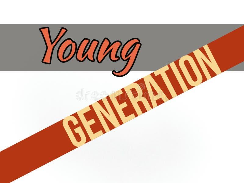 Молодое слово поколения на серых и оранжевых цветных барьерах стоковая фотография