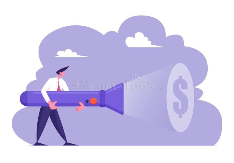 Молодой бизнесмен в официальном костюме держа огромное освещение электрофонаря вверх по знаку доллара на стене, ища деньги, путь  иллюстрация вектора