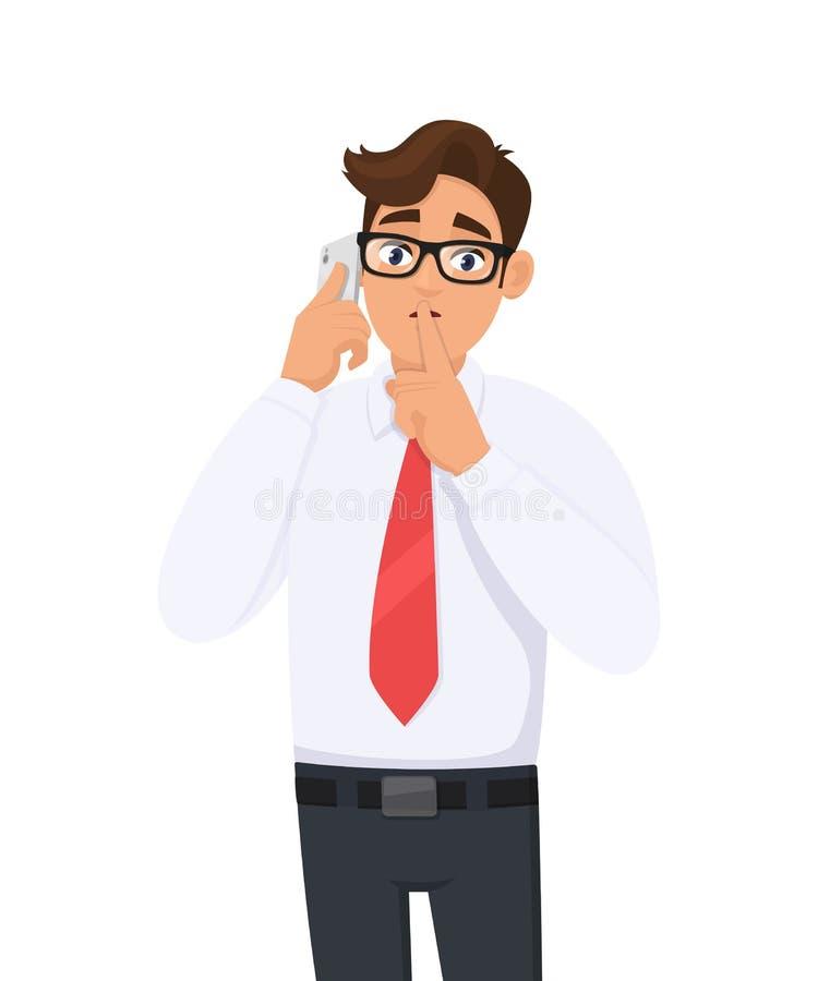 Молодой бизнесмен в официальный говорить/говоря по черни, клетке или умному телефону и спрашивая безмолвие Безмолвие пожалуйста!  иллюстрация штока