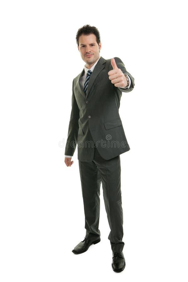 Молодой бизнесмен в полнометражном положении изолированный на белой предпосылке Дело, офис и концепция успеха стоковые изображения