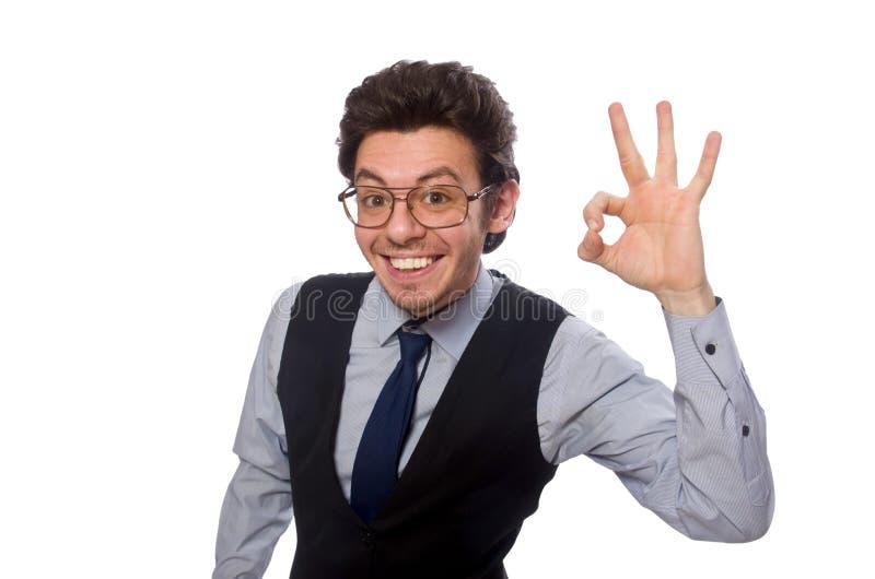 Молодой бизнесмен в смешной концепции на белизне стоковое изображение rf